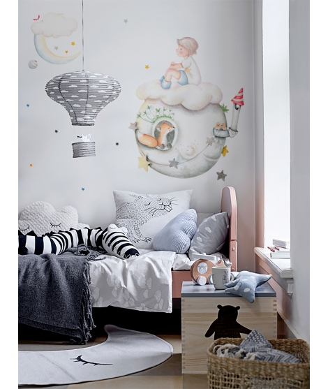 "Personalised Child Wall Sticker ""Rain of stars boy"""