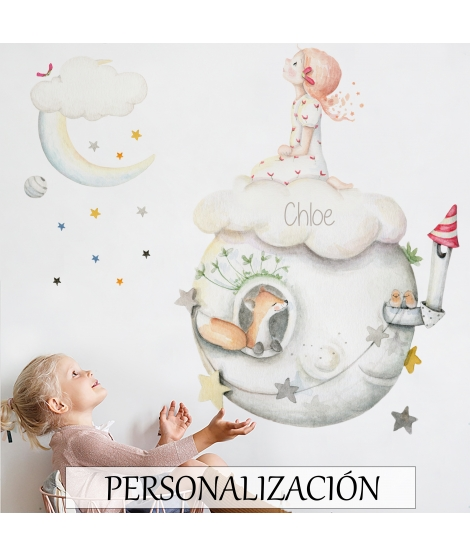 "Personalised Child Wall Sticker ""Rain of stars girl"""