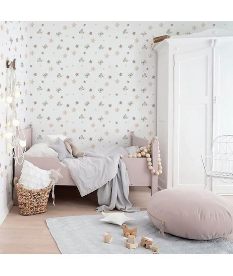 BUTTERRFLIES AND STARS BEIGE Wallpaper