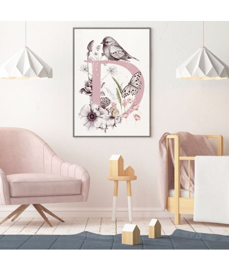 INITIAL FLORAL BIRD III Personalized  Print